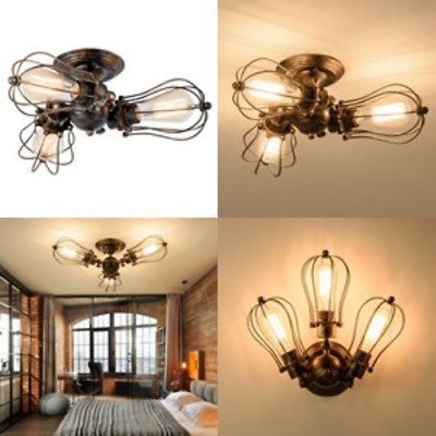 Vintage Industrial Ceiling Light Fixture Metal Wall Mount Semi Flush Retro 3