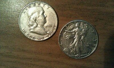 1 Walking Liberty 1 Ben Franklin Half Dollars  90% Silver Coins $1.00 Face Value
