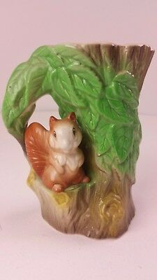 Vintage Fauna Vase Eastgate Pottery Withernsea England Squirrel Tree FREE UK P&P
