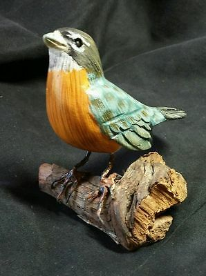 """Red-breasted Bluebird Sculpture Figurine Wood hand-painted YIP about 3"""" tall"""