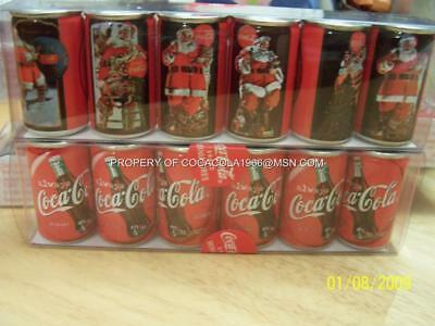 Coke Mini Miniature Set Coca Cola Bottles 1931 1936 Santa LTD NIB 6 Cans England