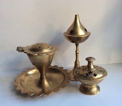 Lot of 3 Vintage Small Solid Carved Brass Incense Burners ~ Signed India