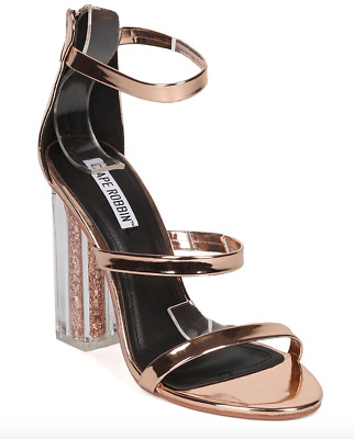 0e8d448615b8a6 New Women Cape Robbin Rose Gold Triple Band Glitter Lucite Block Heel size 8