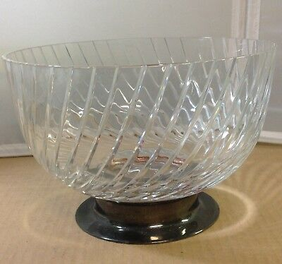 """Crystal Bowl vintage wave swirl silver base 1940's 9"""" across 6"""" tall clear glass"""