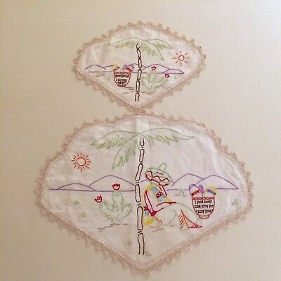 VINTAGE HAND EMBROIDERED  MEXICAN THEME LARGE DOILEY PAIR - 1950's IRISH LINEN