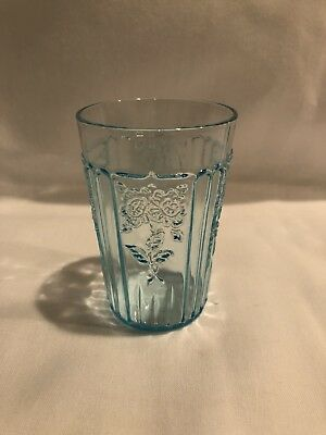 Mayfair Open Rose Depression Glass Blue
