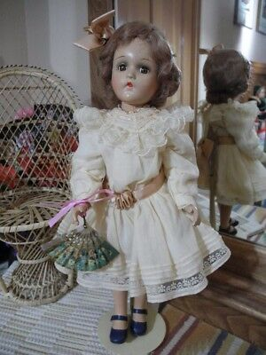 """18"""" Madame Alexander WENDY ANN Composition Doll Mohair Wig Fan Lace Dress Shoes"""