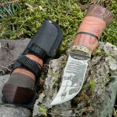 9.09in KANDAR WO-129 FIXED BLADE KNIFE HUNTING A.