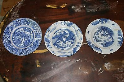 A set of 3 Dutch Delft blue and white plates, 17/18th C.