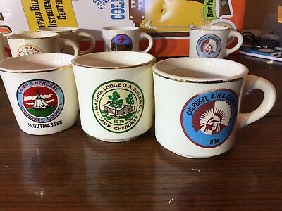 Vintage Boy Scouts Of America Cherokee Area Coffee Mugs Scoutmaster