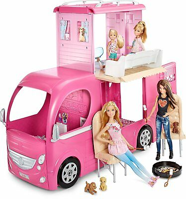Barbie Pop Up Camper Duplex Van Vehicle Transforming Features Kids Toy Doll Gift