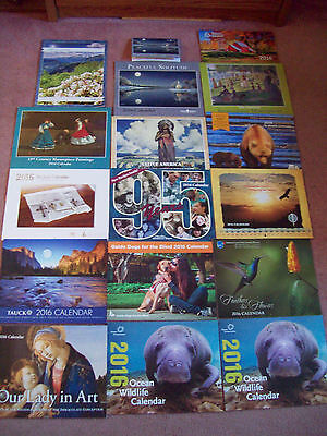 2016 Lot of 16 Wall Calendars - 1 Pocket Calendar - New