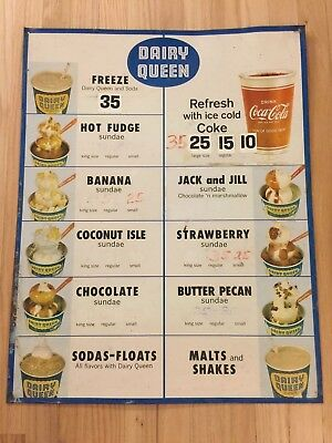 Old Tin Dairy Queen Ice Cream Menu Board Cola Cola Cup Sign Parlor DQ