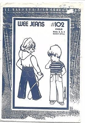 Jeans Pattern Child Toddler Size 2 3 4 102 Sharon Marie Vintage Pull On Wee Jean