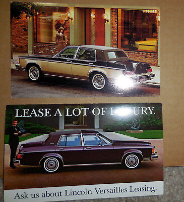 2 different 1978 - 1980 LINCOLN VERSAILLES Postcards unused (brochure catalog)