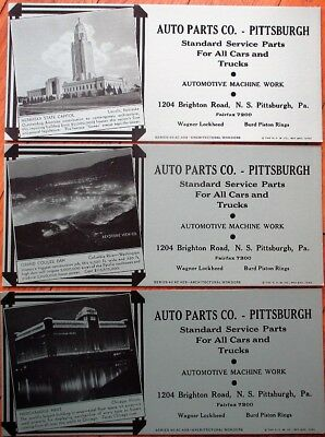 Pittsburgh, PA Auto Parts Co. 1940 Advertising Blotters SET OF THREE - Art Deco