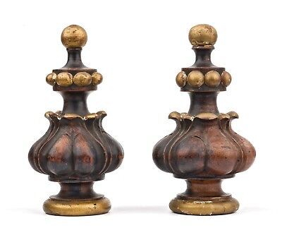 A Pair Of Antique Carved Wooden Gilt Decorated Finials