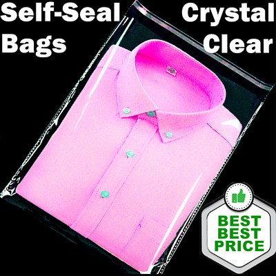 CLEAR POLY BAGS Large Small Plastic Packaging Flat Lock Packing T-Shirt Apparel
