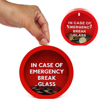 Emergency Money Box In Case Of Emergency Break Glass Novelty Savings Coin Bank