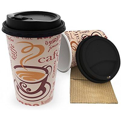 Premium Disposable Paper Coffee Hot Cups 16 Oz - 50 Pack Heavy Duty With Sleeves