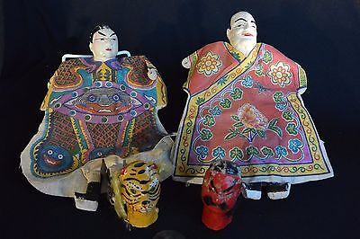 Asian HAND PUPPETS, Taiwan, 50s Vintage: Two Bodies, Four Heads