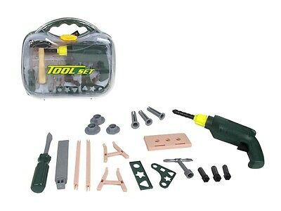 B/o 22 Pc Tool Work Shop Kit Boys Kids Toy Friction Drill Case Build Play Set