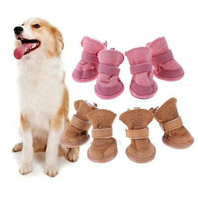 4 × Winter Small Dog Boots Anti-Slip Puppy Shoes Pet Dog Protective Snow Booties
