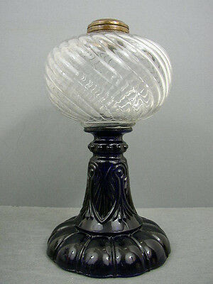 ANTIQUE RARE COBALT BLUE STEM BASE SHELDON SWIRL KEROSENE OIL LAMP CIRCA 1880's