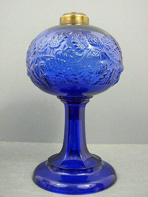 Antique Rare Cobalt Blue Sandwich Glass Blackberry Kerosene Oil Lamp Round Base