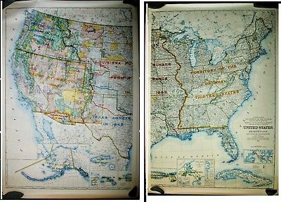 Vintage 1953 Map United States, Territories, Insular Possessions 2 sheets