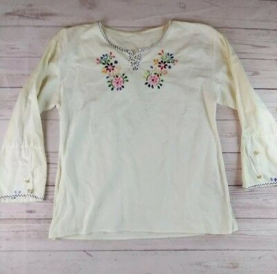 Vintage Peasant Blouse Embroidered White Floral Pink Blue Flowers Top Shirt M