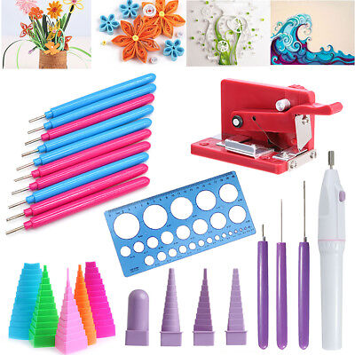 Paper Quilling Craft Tool DIY Slotted Template Board Mould Grid Needle Pen Kit