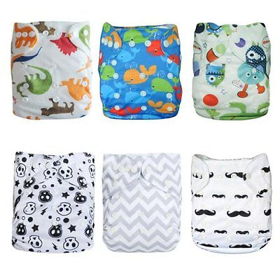 Alva Baby Cloth Diapers Pocket Washable Adjustable Reusable 6pcs With 12 Inserts