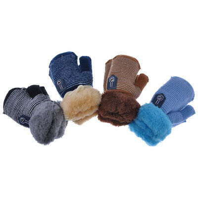 Baby Kids Wave Line Wool Knitted Gloves Thick Fleece Cuff Mittens