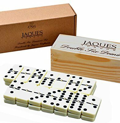 Dominoes - Club Double Six Dominoes Set in a Wooden Slide Lid Box - Jaques of Lo