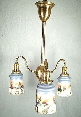 Antique Victorian Art Nouveau 3 Arm Brass Chandelier With Hand Painted Shades