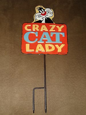 Looney Tunes Sylvester Crazy Cat Lady Tin Metal Sign With Stake-New