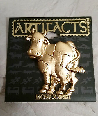 Vintage JJ Artifacts Large Bright Brass Cow Pin/Brooch-NOS