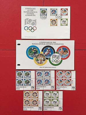 ISLE OF MAN OFFICIAL INTERNL OLYMPIC COMMITTEE FDC, STAMP P/PACK & 20 stamps mnh