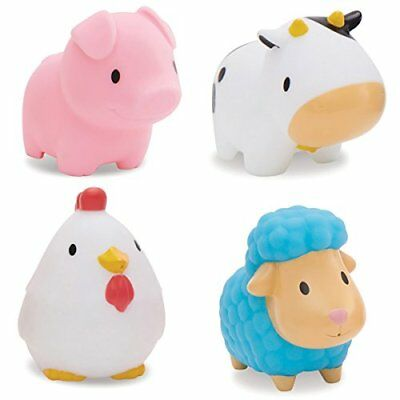 Munchkin Floating Farm Animal Themed Rubber Bath Squirt Toys for Baby - Pack of