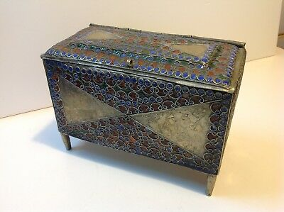 Antique jewelry box Moroccan Islamic Berber tribal enameled white metal (m1647)