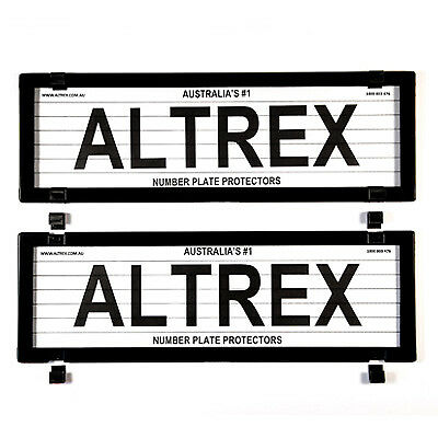 5 Figure Number Plate Covers Dual Slimline Black with Lines Altrex 5VSL