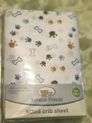 Luvable Friends Fitted Crib Sheet !00% Cotton Free Shipping