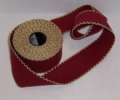 """14 Count Aida Band -2"""" wide BURGUNDY with a GOLD Edging -50 cms long"""