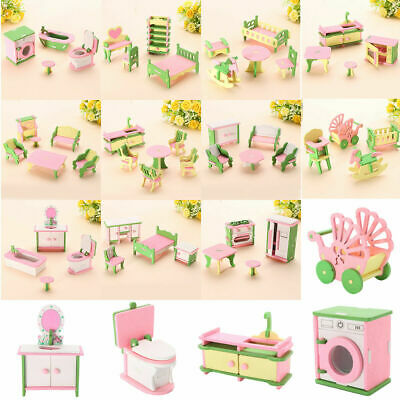Wooden Furniture Dolls House Family Miniature Room Set For Kids Toy With Box