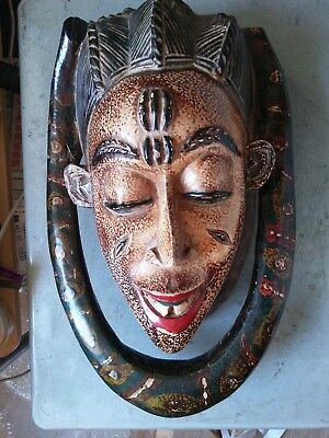Antique African Tribal Hand Carved Wood Ceremonial Mask