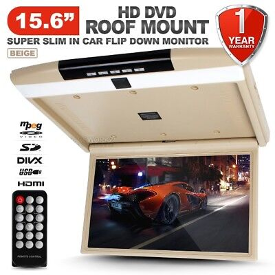 """15.6"""" HD TFT LCD SD HDMI Car Roof Mount Overhead Flip Down Monitor DVD Player"""