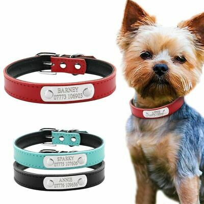 Leather Personalized Dog Collars Custom Cat Pet Name ID Collar Free Engraving Fo
