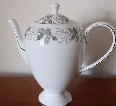 TUSCAN RONDELEY Bone China COFFEE TEAPOT Leaf Design with Silver Trim TEA SET