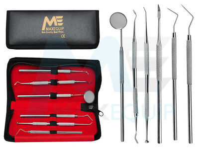 Professional DENTAL 6 PIECE KIT Scalers Probes Mirror Tweezer Dentist SET STEEL